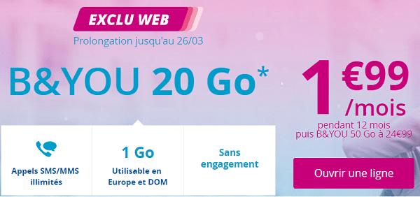 B&you propose son forfait illimité 20Go à 1.99€/mois