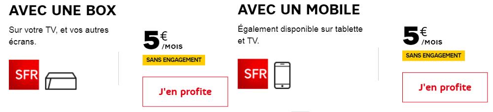 SFR Sport Europe à 5€ par mois au lieu de 15€