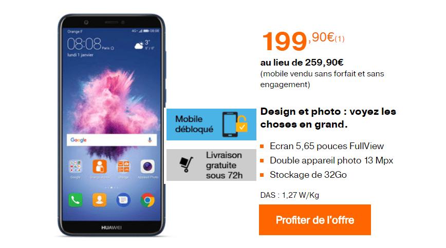 60€ de remise immédiate sur le Huawei P smart chez Orange