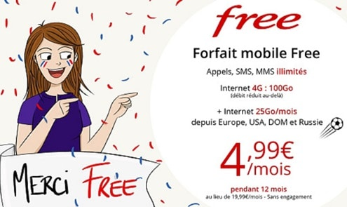 Le forfait free 100Go est à seulement 4.99€ sur vente-privee.com