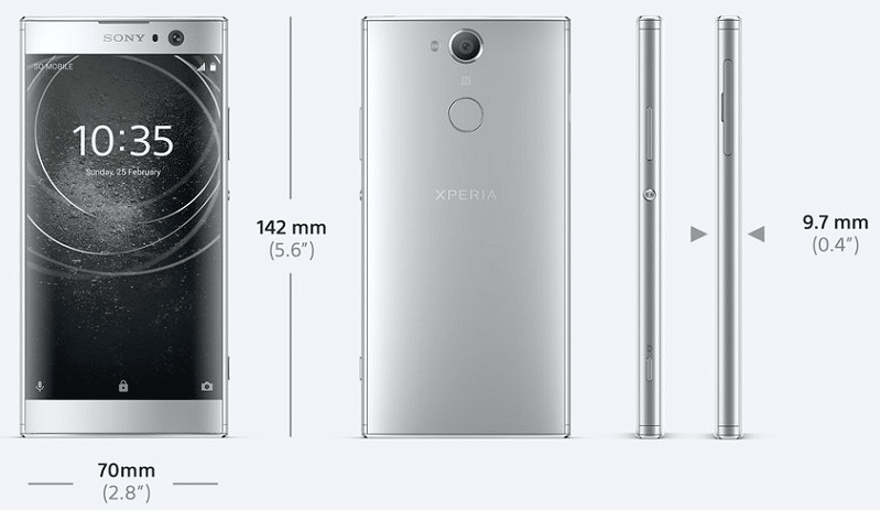 photos du sony xperia xa2 de face et dos