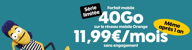 forfait sans engagement sosh : la série limitée 40 go à 11.99 € / mois