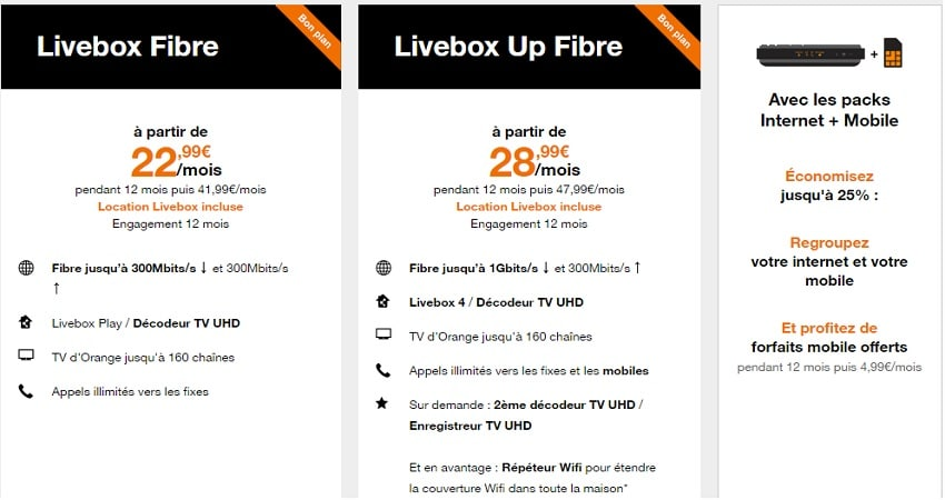 offre orange box : livebox up pas chère
