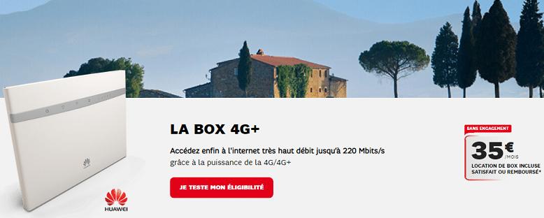 Box 4g+ sfr : Détails des caractéristiques et prix de l'offre internet sans engagement avec 1 mois de garantie