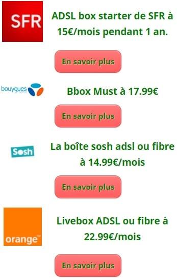 box internet moins cheres