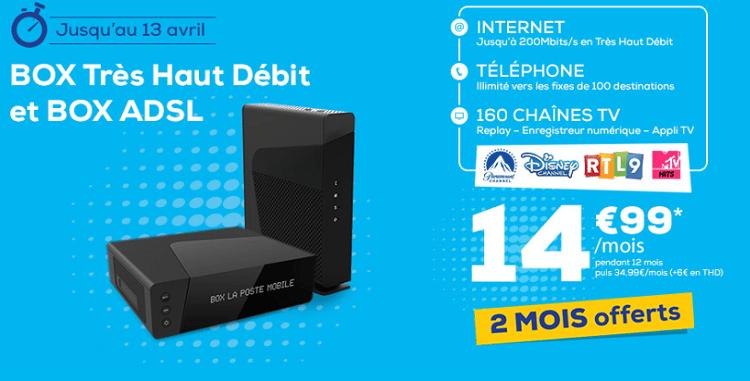 box la poste mobile adsl ou très haut débit en promo à 14.99€/mois