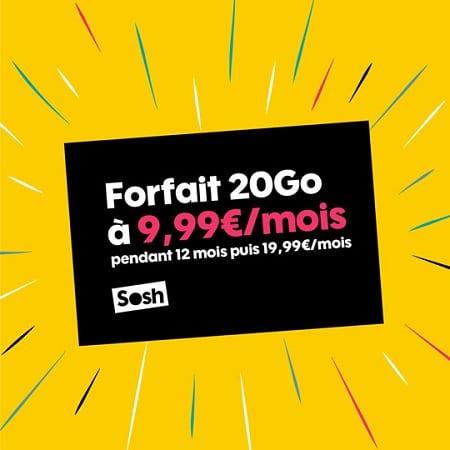 forfait mobile sosh 20 Go à 9.99 euros