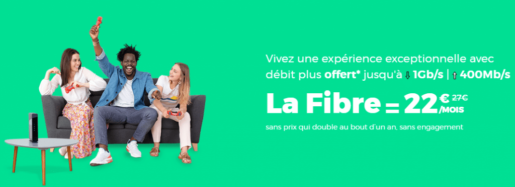 fibre red by sfr à prix promotionnel : 22 euros par mois