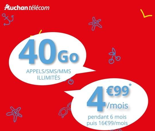 forfait sans engagement auchan telecom 40 go en promo à 4.99 €