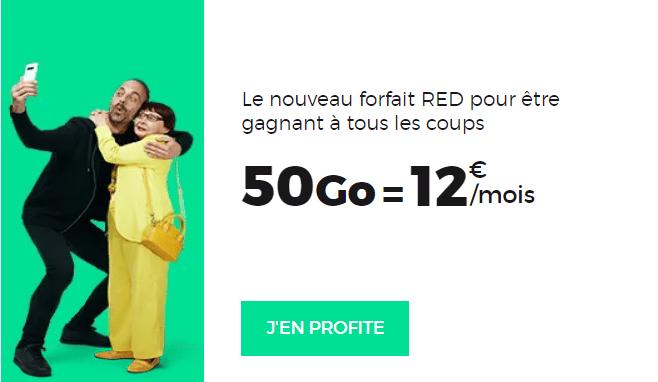 forfait red by sfr 50 go à 12 euros par mois à vie