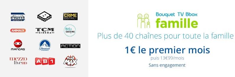 bouquet tv bbox famille en promo à 1€ / mois