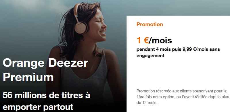 orange deezer premium en promo à 1€
