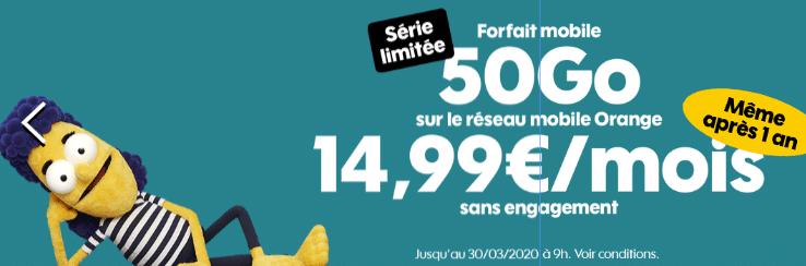 forfait mobile sosh 50 go en promo à 14.99 €