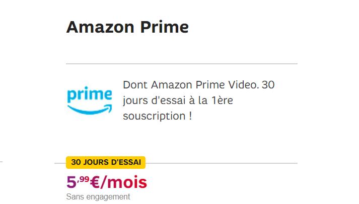 Amazon prime sfr : comment bénéficier de 1 mois d'abonnement offert + caractéristiques