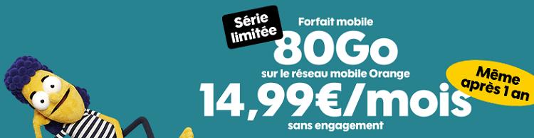 forfait sosh 80 go en promo à 14.99 € / mois