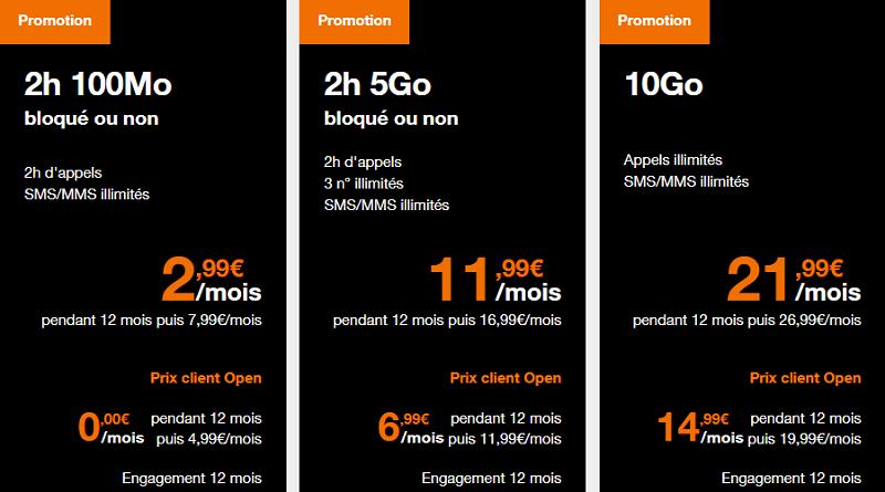 forfaits orange 5go, 10go et 2 heures en promo