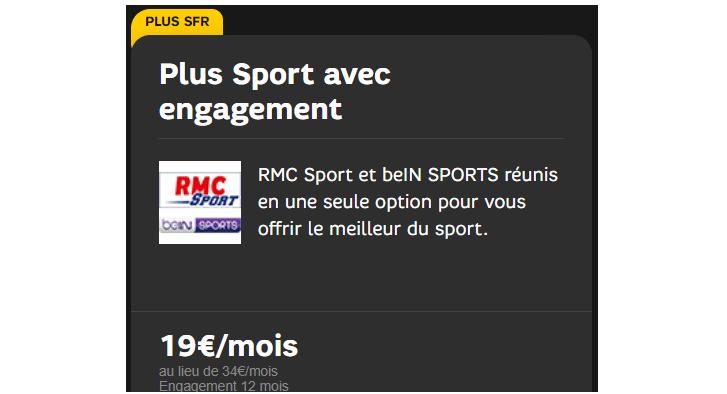 Plus sport SFR : RMC sport et bein sport réunis dans un seul pack pour 19 € / mois