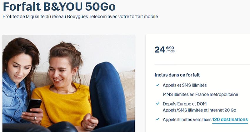 forfait b&you 50go à 24.99 € / mois