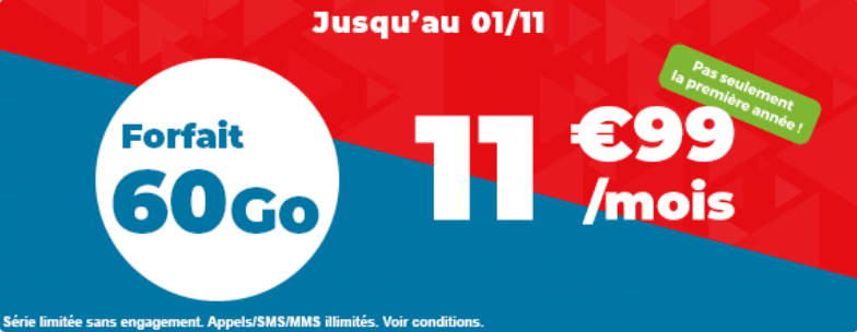 promo abonnement auchan : 60 go à 11.99 € à vie