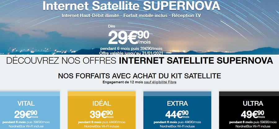 Internet satellitaire : Prix et caractéristiques de l'offre nordnet supernova