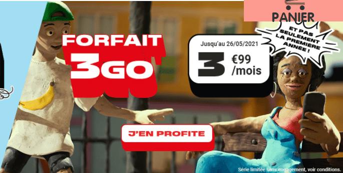 forfait 3 go nrj mobile à 4.99 euros par mois